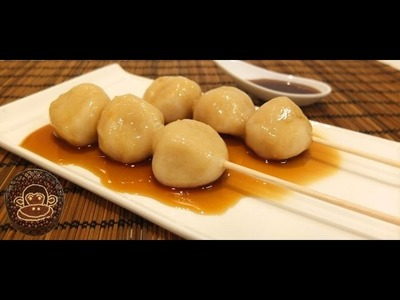 Mitarashi dango, postre japones , receta fácil.