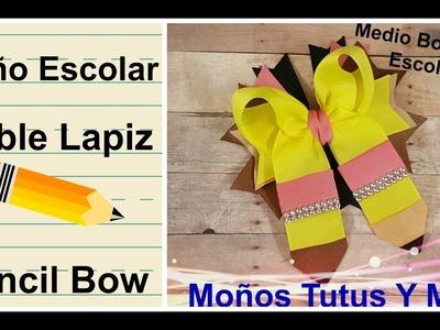 MOñO MEDIO BOUTIQUE ESCOLAR Paso a Paso BACK TO SCHOOL HAIR BOW Tutorial DIY How To PAP Video 189