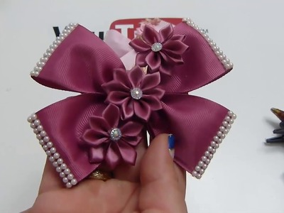 Moños y flores de liston,How to make bows and flowers with ribbon