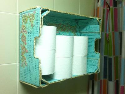 Mueble auxiliar para rollos de papel higienico hecho con caja de fruta