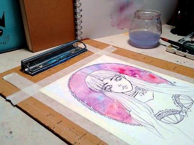 Pintando con acuarelas video tutorial en español(Speed Paint )