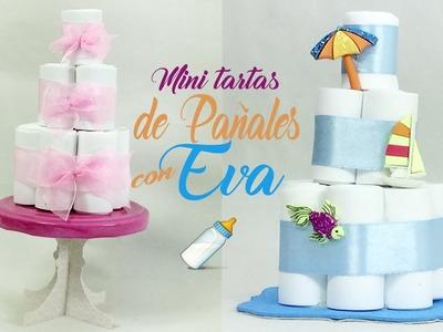 TARTAS DE PAÑALES en MINIATURA CON GOMA EVA. FOAMY P  Recuerdos de BABY SHOWER ???? Sabor De Fiesta