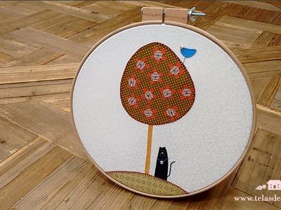 Tutoriales patchwork: Aplicación de tela con festón