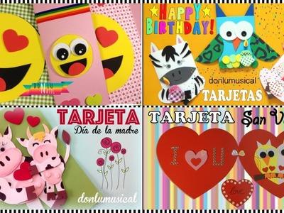 4 tarjetas originales para cumpleaños, san Valentín, día de la amistad y día de la madre