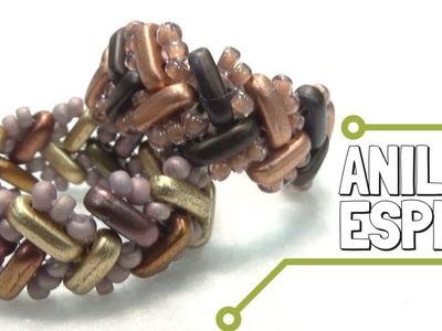 Anillo Espiga con cuentas Bar y Técnica Herringbone Stitch. DIY