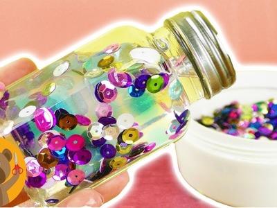 Botella anti estrés con perlas de agua y lentejuelas. Ideas DIY super bonita
