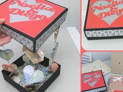 Caja para dar dinero en una boda de forma original  - Corazones con billetes
