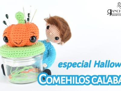 """Calabaza de ganchillo para Halloween - Alfiletero y """"comehilos"""""""