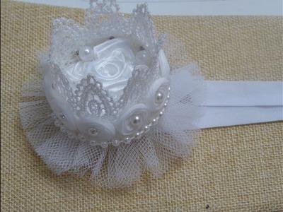 Como Hacer Corona  de Flores  Encaje y perlas , DIY Crown Headband for baby