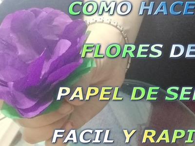 Como hacer flores de #papel de seda muy rapido y facil