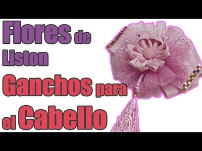 Como Hacer Lazos Dobles de liston y tul,Flores de Liston, how to make flowers and bows for a girl
