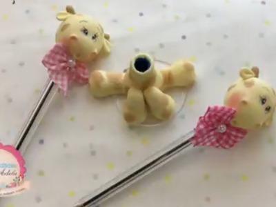 Como hacer una jirafa de lapicero en porcelana fria paso a paso
