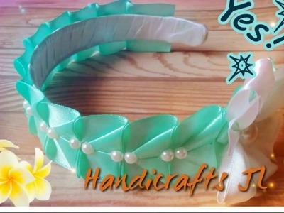 Diadema forrada con listón estilo Kanzashi fácil de hacer