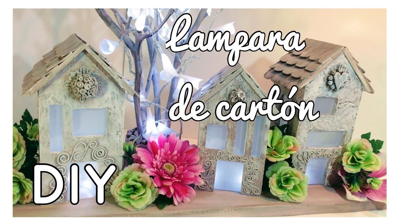 DIY -  LAMPARA CON CARTÓN  ¡¡¡PRECIOSA¡¡¡