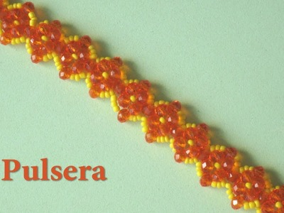 DIY - Pulsera de cristalitos naranja DIY - Orange crystallite bracelet