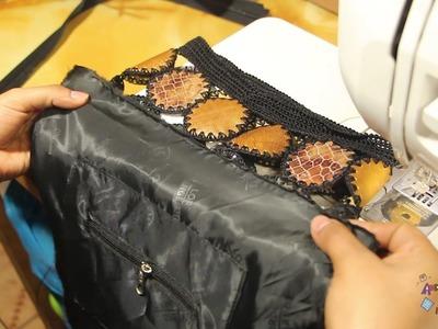 Forrado de tela facil para cartera tejida a crochet paso a paso.