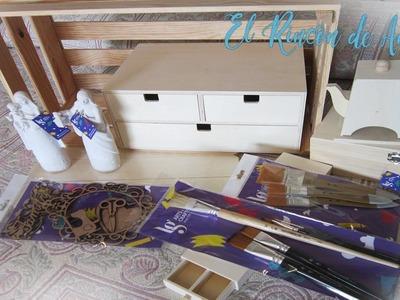 Haul de materiales para manualidades, madera, pinceles,  Belenes para pintar y mas -DIY Manualidades