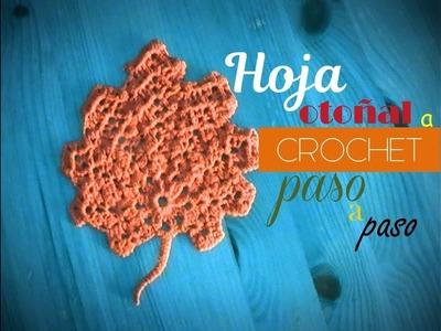 HOJA OTOÑAL a crochet paso a paso (zurdo)