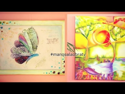 Manosalaobratv Programa 60 Cuadro Naif en Seda - Cuadro Mariposas