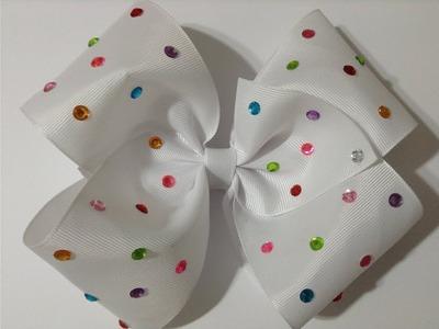Moño boutique decorado con cuentas de colores Video No.498creacionesrosaisela