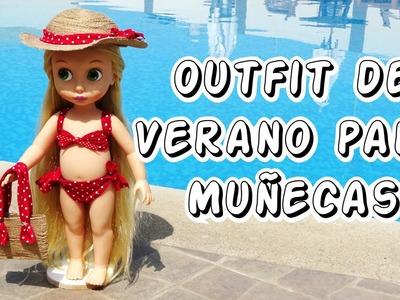Outfit de verano para tus Muñecas Bikini Sombrero y Bolso sin costura