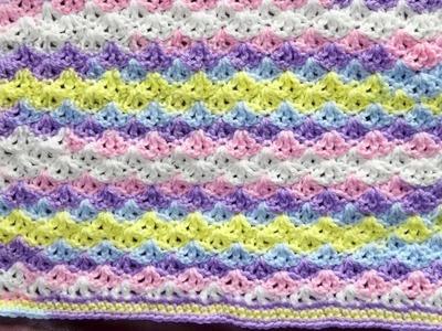 Pequeña manta para bebe a crochet, paso a paso