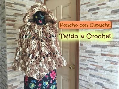 Poncho con Gorro tejido a Crochet