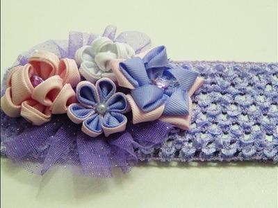 Tiaras con flores kanzashi ,How to make flowers of ribbon