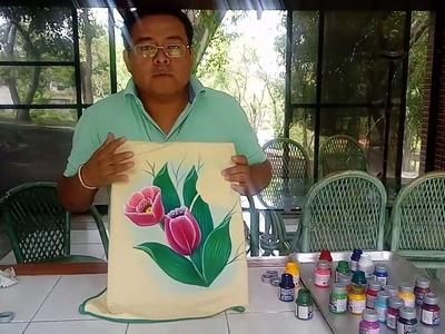 Tutorial pintura textil,  luz y sombra en tulipanes.
