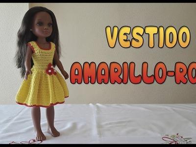 Vestido Amarillo-Rojo para muñeca Nancy