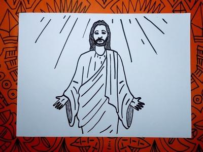 Aprenden a dibujar a Jesús con manos abiertas paso a paso