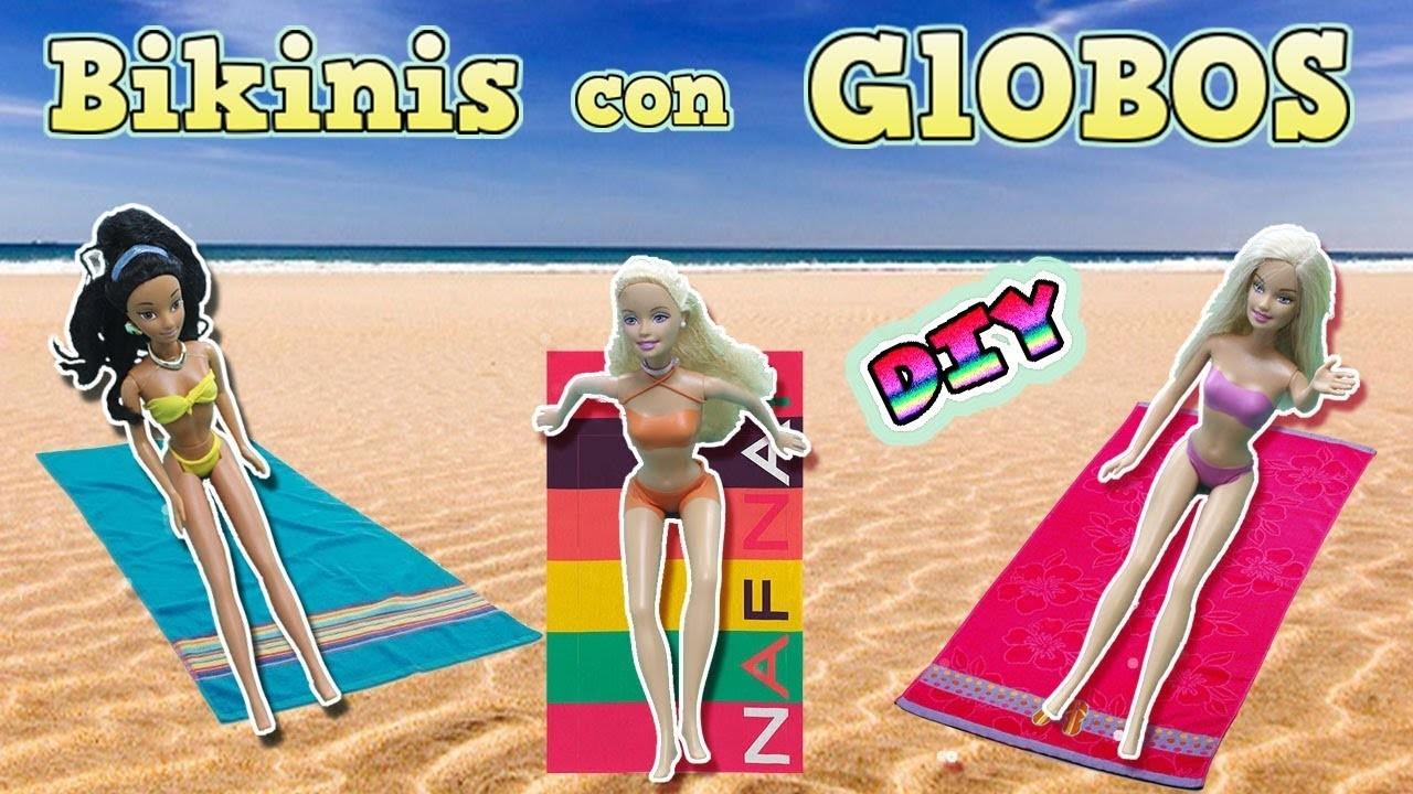 Bikinis y trajes de baño para muñecas sin coser ni pegar ¡¡ Sólo con globos !!????