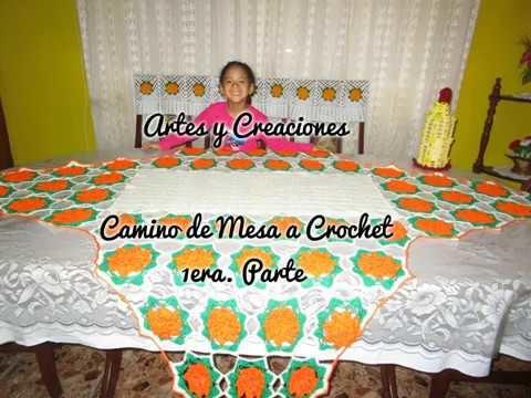 CAMINO DE MESA CON FLORES (APLICACIONES)TEJIDO A CROCHET - 1ERA. PARTE