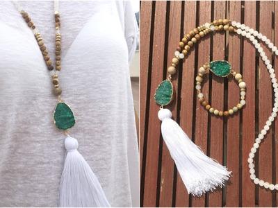 Collar y pulsera de cuentas jade blanco y jaspe, druzy turquesa y borla blanca