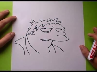 Como dibujar a Barney paso a paso - Los Simpsons | How to draw Barney - The Simpsons