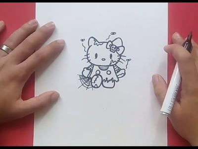 Como dibujar a Hello Kitty zombie paso a paso | How to draw Hello Kitty zombie