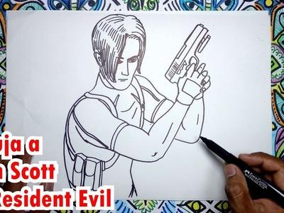 Cómo dibujar a Leon Scott de Resident Evil 4 paso a paso