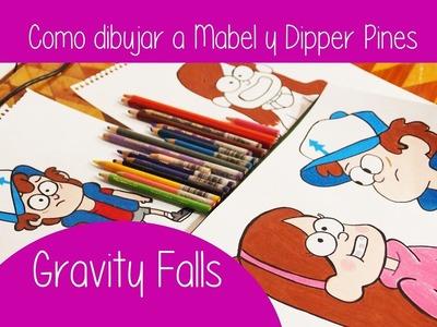 Como dibujar a Mabel y Dipper Pines de Gravity Falls + Speed Drawing individual
