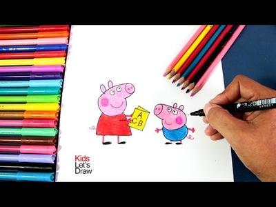 Cómo dibujar a PEPA y YORCH   How to draw Peppa Pig and George