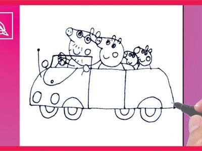 Cómo Dibujar a Peppa Pig Con Su Familia En Su Auto - Draw Peppa´s Pig Family In Car | Dibujando