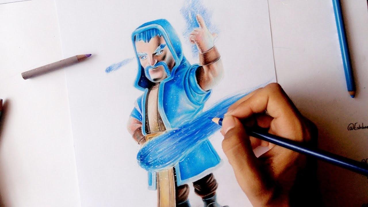 Como Dibujar Al Mago De Hielo De Clash Royale | How To Draw Ice Wizard | ClashOfClan | Esteban Art's