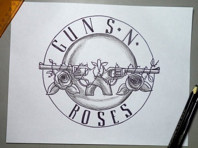Cómo dibujar el escudo oficial de Guns N'Roses paso a paso
