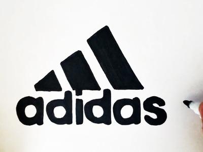 Como dibujar el logo de Adidas paso a paso (símbolo, emblema, escudo)