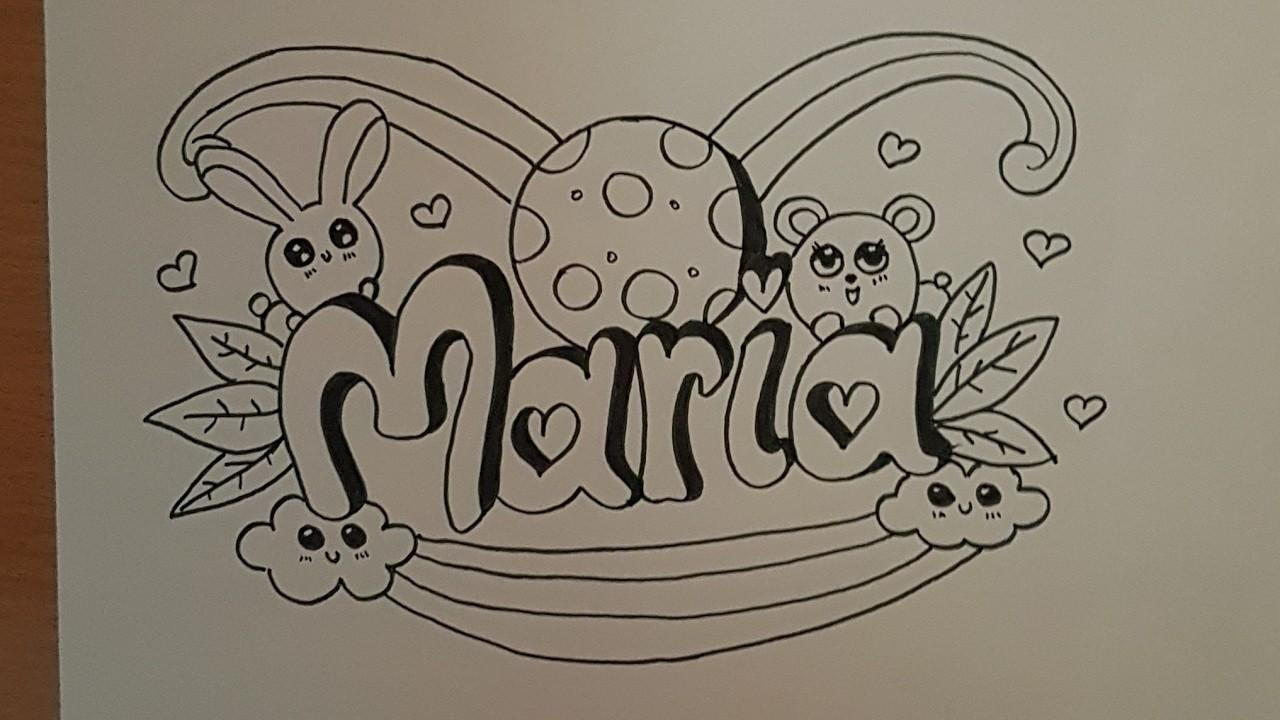 Como dibujar el nombre maria estilo doodle art paso a paso- How to draw name Maria