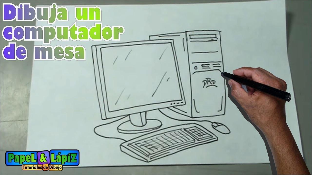 Cómo dibujar fácil un computador de mesa - Desktop computer drawing