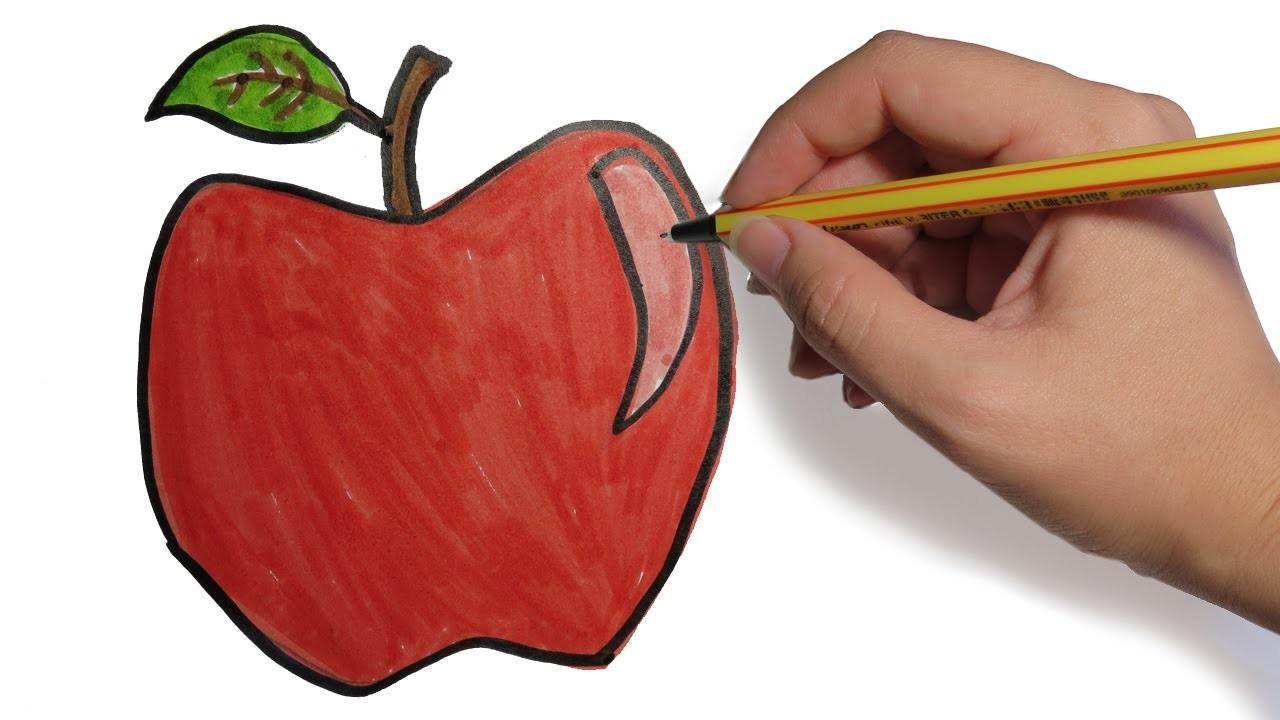 COMO DIBUJAR FRUTAS: Manzana a lapiz paso a paso