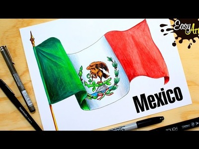 Cómo dibujar la Bandera de México. how to draw the flag of Mexico