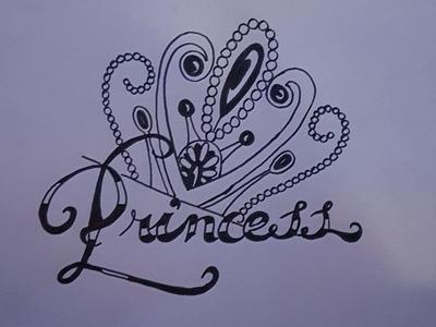 Cómo dibujar la palabra princesa paso a paso - How to draw princess step by step