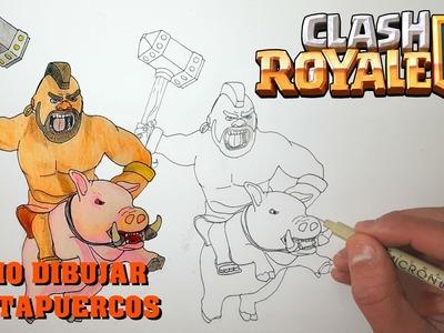 Cómo Dibujar MONTAPUERCOS Clash Royale  Magic Bocetos  Tutorial Paso a Paso
