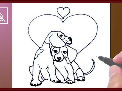 Cómo Dibujar Perritos Enamorados - How To Draw Dogs In Love
